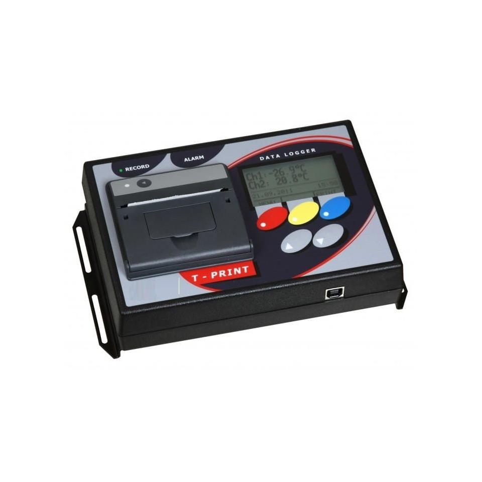 Temperature logger with printer, 2x binary input