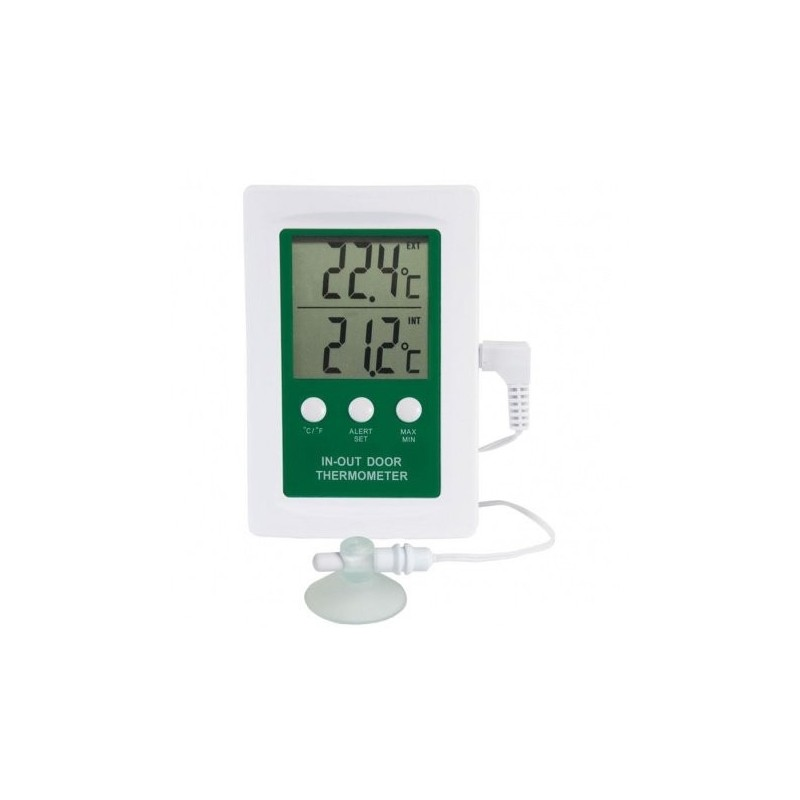 Indoor - outdoor digital thermometer with alarm