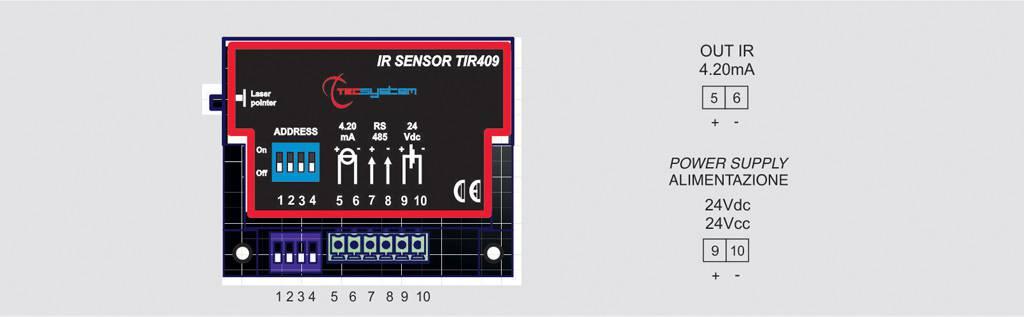 Capteur IR TIR409 connexions électriques
