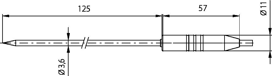 Schéma sonde à piquer poignée Téflon 11mm, -50°C à 280°C