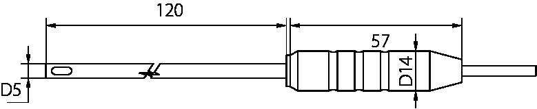 Schéma sonde d'ambiance poignée Téflon, 0°C à 150°C
