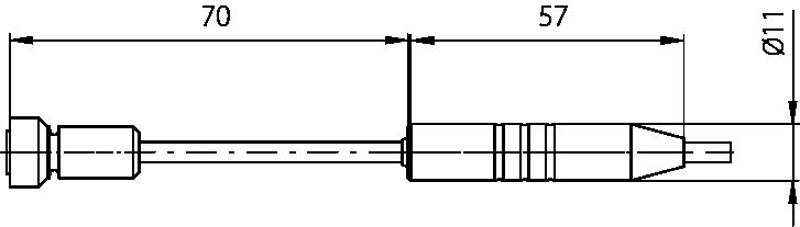 Schéma sonde de contact poignée Téflon 11mm, -30°C à 150°C