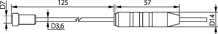 Schéma sonde de contact poignée Téflon, -30°C à 250°C