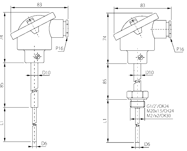 Probe with standard connection head