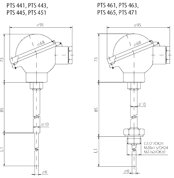 Probe with connection head - IP68