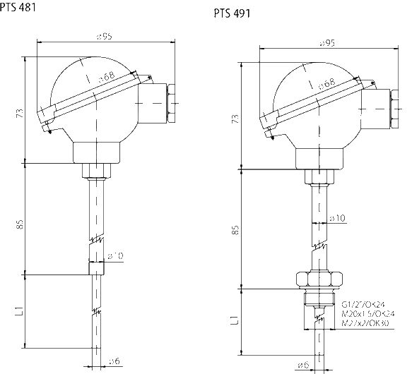 Sonde à tête de connexion avec convertisseur 4 20ma ip68