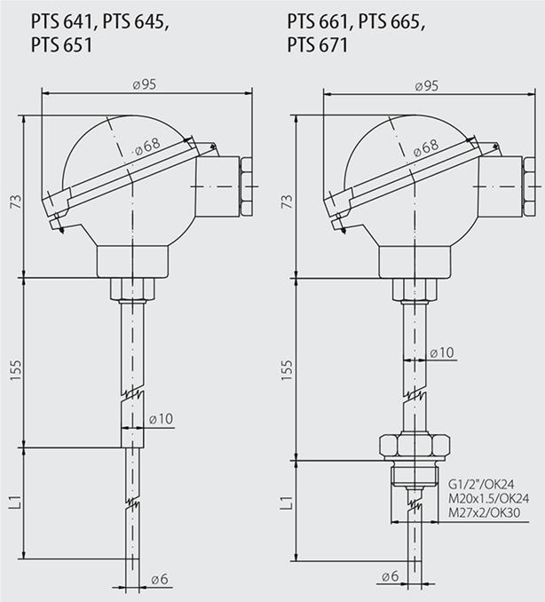 Sonde à tête de connexion IP68 600 C
