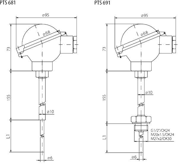 Sonde de température avec convertisseur ip68