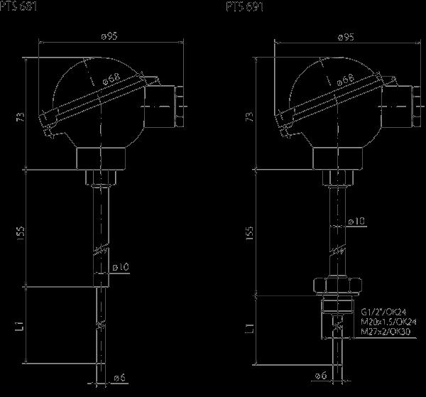 Temperature probe with converter ip68