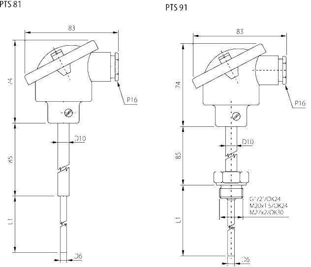 Probe with connection head - 4 ... 20mA converter