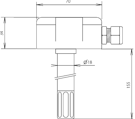 Temperature and humidity probe for ventilation duct