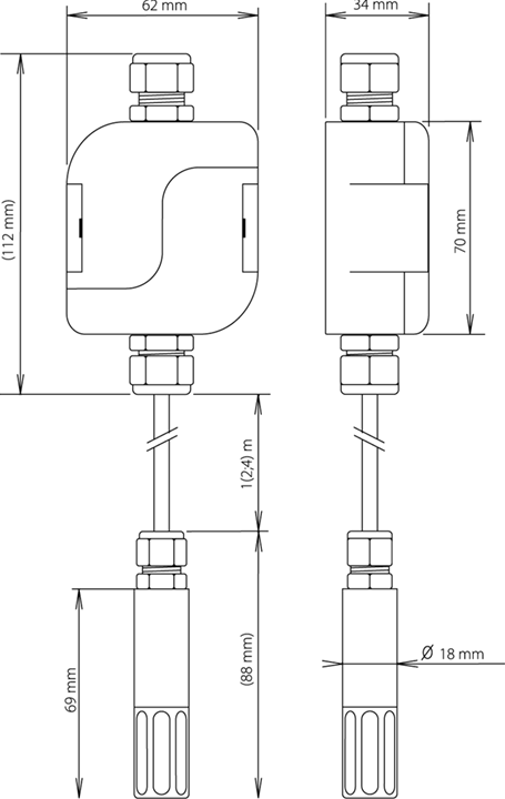 Wired box humidity probe diagram