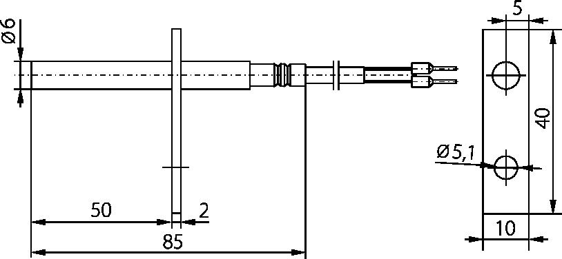 Schéma sonde à bride diamètre 6mm, 400°C