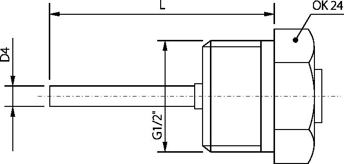 Sonde avec raccord, tube 4mm, -50 à 200°C