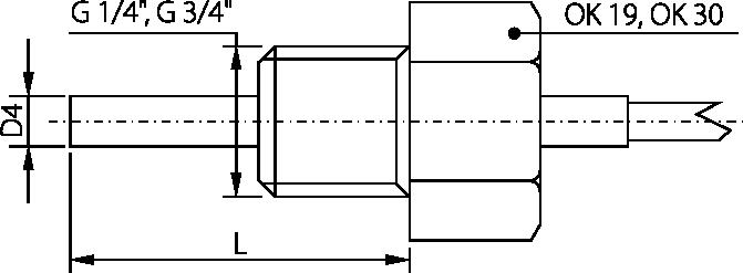 Sonde avec raccord, tube 4mm, -50 à 250°C