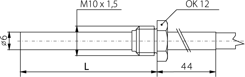 Sonde raccord M10, tube 6mm, 0 à 400°C
