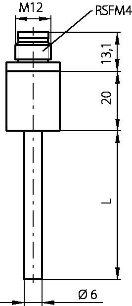 Sonde avec connecteur lumber M12, 6mm, -50 à 150°C