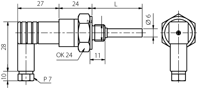 Probe with plastic connector with connection G1 / 2, M20