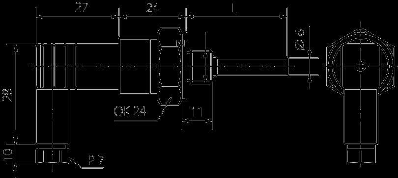 Sonde avec connecteur plastique avec raccord G1/2, M20
