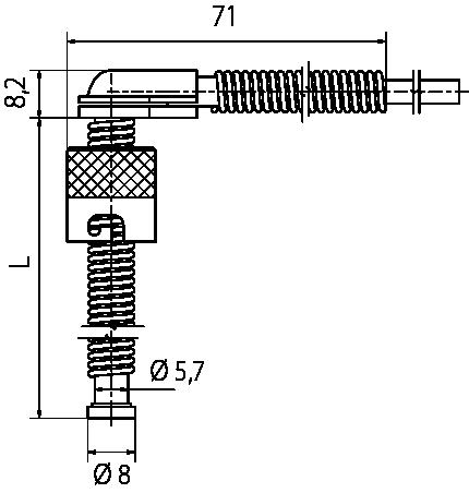 Sonde à baïonnette à angle droit, 6 à 8 mm