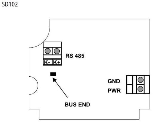 Modbus RS485 room probe connection