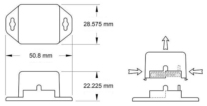 Wireless button cell temperature sensor diagram