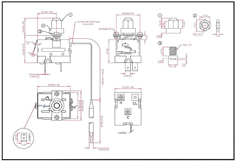 Schéma thermostat capillaire à bulbe RMT