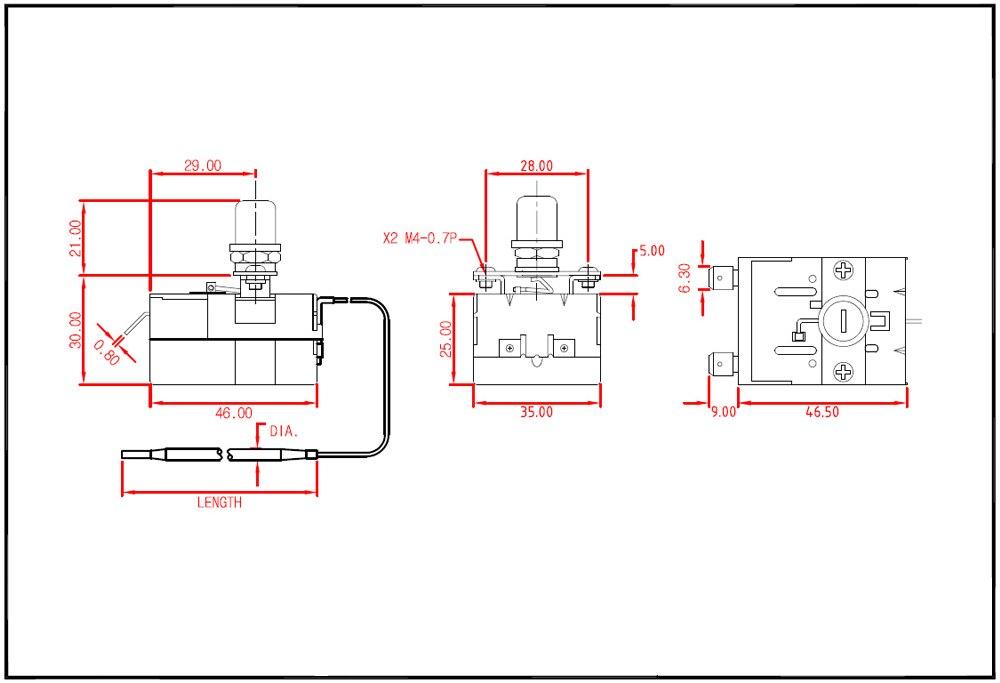 TSR capillary thermostat diagram