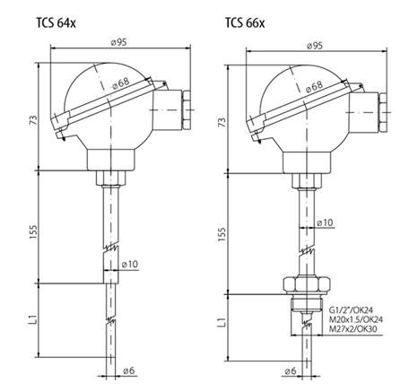 Schéma thermocouple à tête de connexion IP68 jusqu'à 600°C