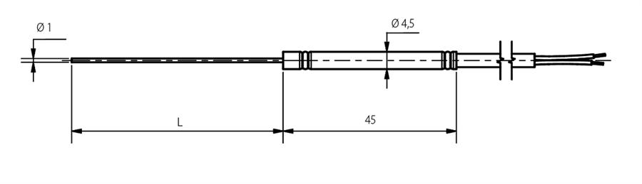 Schéma thermocouple diamètre 1mm