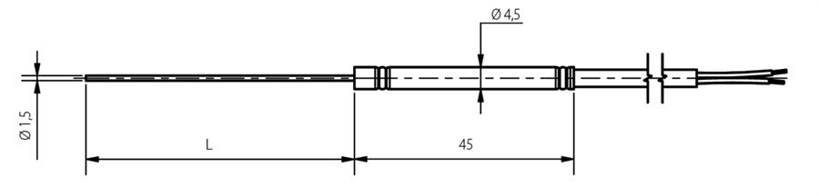 Thermocouple chemisé diamètre 1,5mm