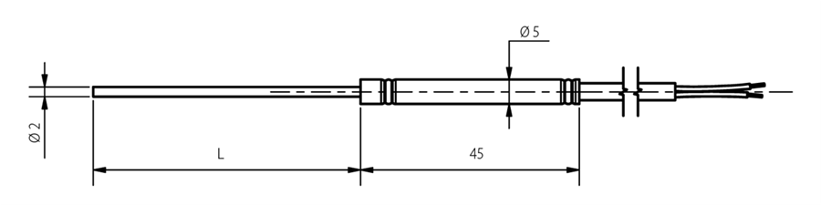 Thermocouple chemisé diamètre 2mm