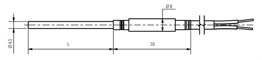 Schéma Thermocouple chemisé diamètre 4,5mm
