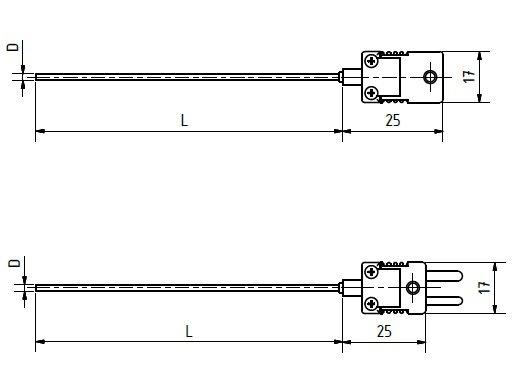 Schéma thermocouple avec connecteur mini jusqu'à 1100°C