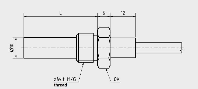 Schéma sonde bilame câblé avec tube et raccord inox diamètre 10mm